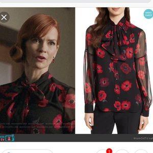Kate Spade poppy chiffon bow blouse L